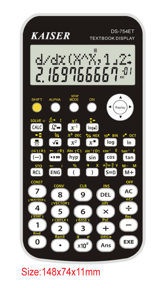 2-line 10+2 digit 410 functions textbook display scientific calculator